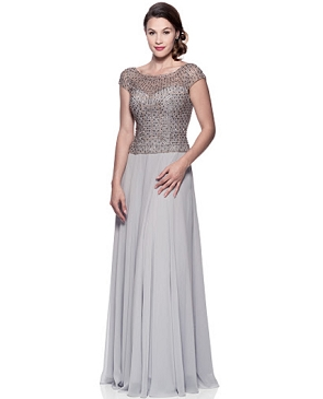 Light Grey Chiffon Formal Dress w/Beaded Bodice- Plus Size