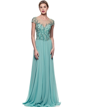 Sea Green Chiffon Evening Dress
