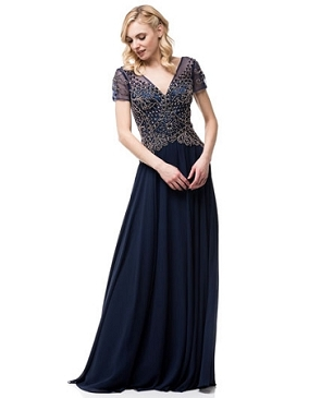 Navy Cap Sleeve Chiffon Gown