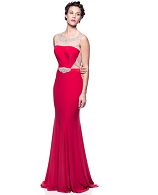 Red Jersey Gown w/Mesh Cutout and Trim