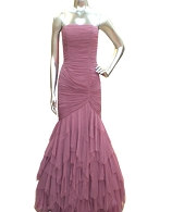 Pink Tulle Mermaid Evening Dress