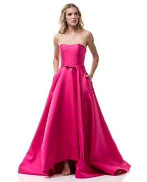 Fuchsia Strapless Ball Gown