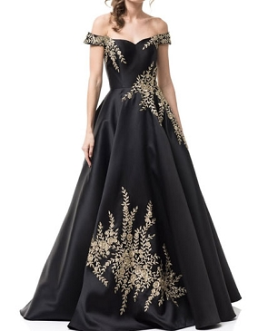 Black Off the Shoulder Ball Gown w/Gold Trims