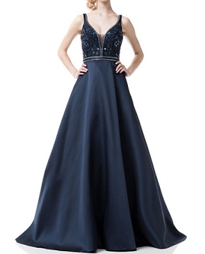 Navy Blue Ball Gown w/Trims