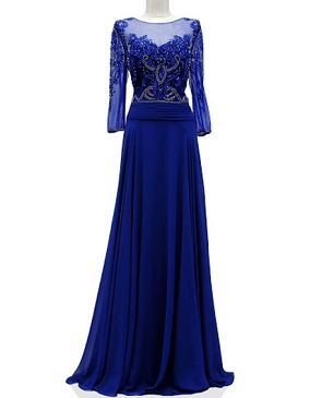 Royal Blue L/S Gown w/Bead Trims