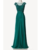 Jade Green Evening Dress with Lace and Trims