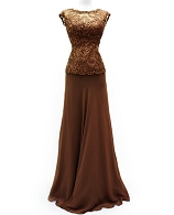 Mocha Guipure Formal Dress