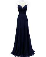 Navy Chiffon Evening Dress w/Clear Bead Trims
