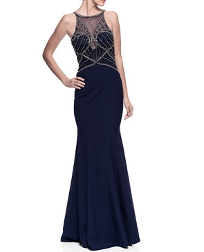 Navy Bead Trim Bodice Evening Dress