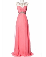 Coral Chiffon Evening Dress w/Rhinestone Trims