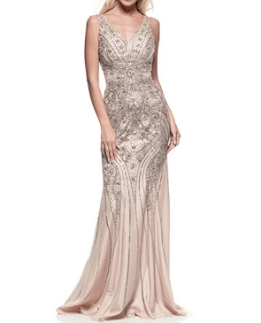 Silver and Champagne Beaded Evening Gown