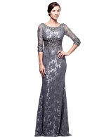 L/S Grey Lace Formal Dress w/Rhinestone Trims