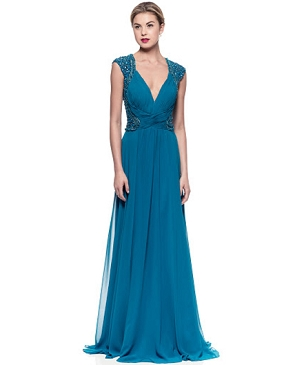 Teal Blue Chiffon Formal Dress w/Bead Trims