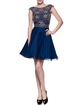 Navy Chiffon Short Dress w/Beaded Bodice