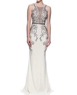 White Jersey Stretch Gown w/Silver Bead Trims