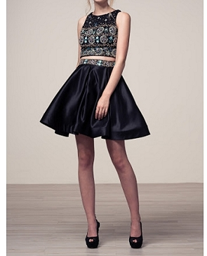 Black 2pc. Beaded Crop Top and Short Skirt Set