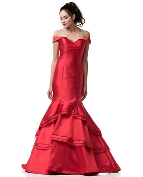 Red Off the Shoulder Mermaid Evening Gown