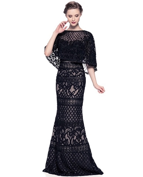 Black Lace Evening Gown w/Beaded Poncho