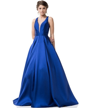 Royal Blue Mikado Ball Gown w/Open Back