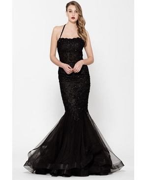 Black Halter Mermaid Gown w/Bead Trims