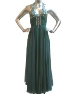 Jemma Long Halter Dress-Green