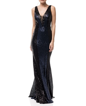 Black and Navy Sequins Evening Dress