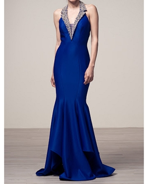 Royal Blue Halter Mermaid Evening Dress