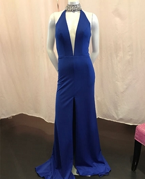 Royal Blue Keyhole Halter Evening Dress
