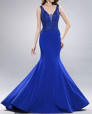 Royal Blue Mermaid Evening Dress w/Beaded Bodice