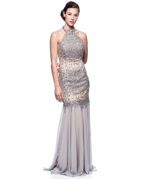 Silver Rhinestone Mockneck Evening Dress