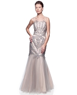 Silver and Nude Tulle Gown w/Rhinestones