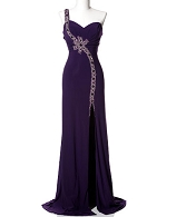 Purple One Shoulder Evening Dress