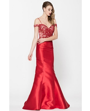 Red Mikado Mermaid Gown w/Bead Trims