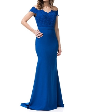 Off the Shoulder Formal Dress w/Lace Bodice- 3 Colors