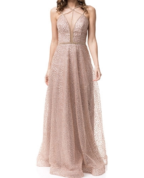 Rose Gold Evening Dress w/Rhinestone Straps