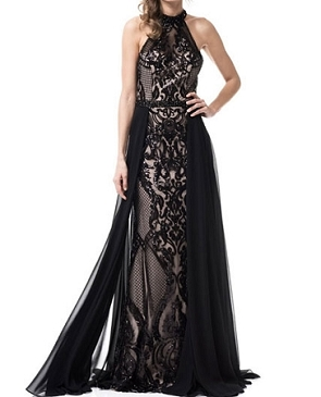 Black Halter Sequins Evening Dress w/Chiffon Overlay