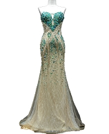 Champagne Lace and Tulle Evening Gown w/Green Rhinestones