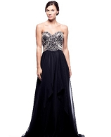 Black Chiffon Strapless Evening Gown w/Silver Trims