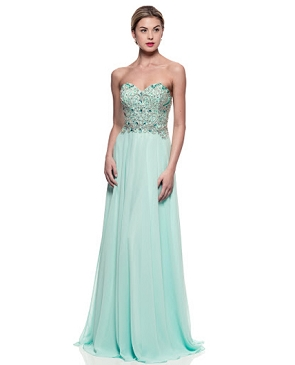 Aqua Bejeweled Corset Chiffon Dress