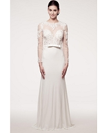 L/S White Jersey Gown w/Lace