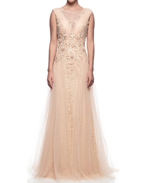 Light Gold Lace and Tulle Evening Gown