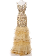Gold Beaded Evening Dress w/Organza Ruffles