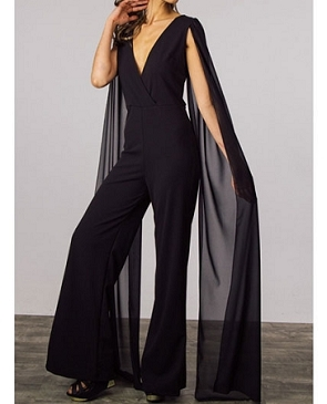Black Jumpsuit w/Chiffon Cape Sleeves