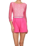 Lace L/S Romper w/Rhinestone Belt- 2 Colors