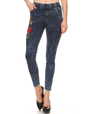 Denim Stretch Jeans w/Rose Patch