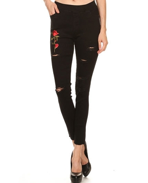 Black Ripped Jeans w/Rose Patch