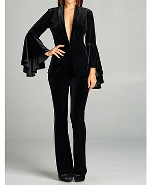 Black Velvet Pant Suit w/Bell Sleeve Jacket