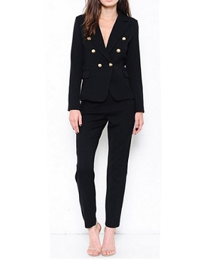 Balmain Style Black Double Breasted Jacket w/Gold Buttons
