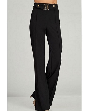 High Waisted Black Palazzo Pants w/Buckle