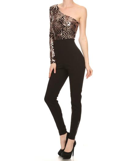 7c26066cc90bd Home   Dresses   One Shoulder Skinny Jumpsuit w Sequins Top
